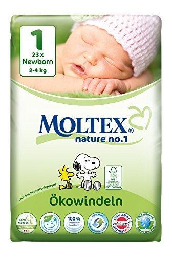 Preisvergleich Produktbild 6er Pack 138 St. MOLTEX Nature No1 Peanuts Ökowindeln Babywindeln NEWBORN Gr 1 (2-4 kg) 6x23St.