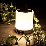 SAVONGA Multi Bluetooth Lautsprecher mit LED Lampe LL001 | Beleuchtung - dimmbare 360° LED Lampe mit Touch Sensor | Bluetooth Lautsprecher mit Premium Tonqualität | Uhr/LED Anzeige + Radio + Weckfunktion | unterstützt SD-Karte, Sleep-mode, Hand frei telefonieren | auch für Camping, Garten und Reisen geeignet.