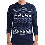 Herren Leuchtet im Dunkeln Rentier Weihnachts-Langarmshirt (Medium)