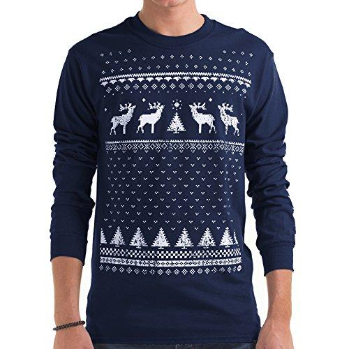 Leuchtet im Dunkeln Weihnachten Rentier langärmelige oben- Männer - Marineblau Marineblau