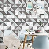 JY ART VZYX Fliesenaufkleber Dekorative Wandgestaltung mit Fliesenaufklebern für Küche und Bad, Deko-Fliesenfolie für Küche u. Europäisches Muster Grau und Weiß Dekoration CZ075, 20cm*100cm*5pcs