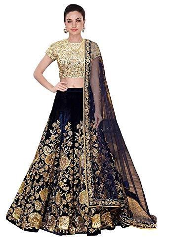 Women\'s Velvet Silk Lehenga Choli (Blue_CH1, Free Size)