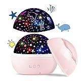 Upgrow Baby Nachtlicht, 2 in 1 LED Sternenlicht Projektor, Ozeanwelle Projektionslampe, 8-Farbwechsel & 360°drehbare Tischlampe für Kinderzimmer, Schlafzimmer, Party Geburtstag Dekor (Rosa)
