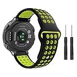 MoKo für Garmin Forerunner 235 Armband, Silikon Atmungsaktiv Replacement Uhrenarmband Sportarmband band Erstatzband für Forerunner 220 / 230 / 620 / 630 / 735XT, Approach S20 / S5, 130mm-216mm, Schwarz/Grau