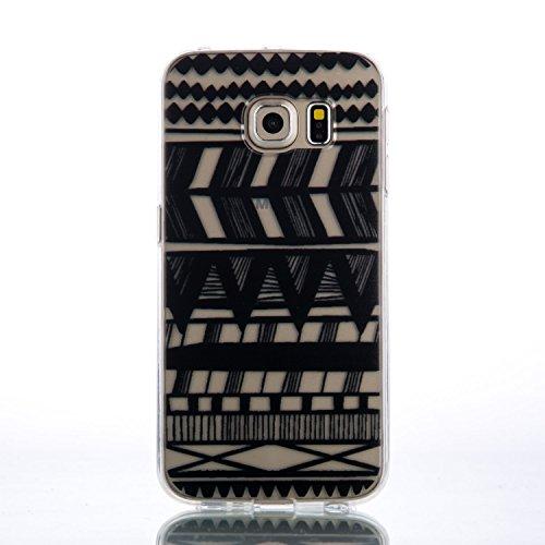 Coque iPhone 6 Plus/6S Plus Silicone [Avec Gratuit Protections D'écran],Housse iPhone 6 Plus/6S Plus Silicone,CaseHome Rétro Vintage Imprimé Motif Noir Ultra Mince Coussin D'air Cristal Clair Antichoc Chevron Stripes