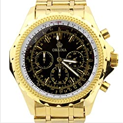Orkina Black Chronograph Dial Gold Color Stainless Steel Wrist Watch PO004SGB