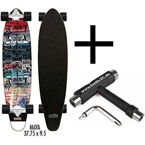 Rellik Longboard Maya kicktail Cruiser 37,75X 9,5+ fan tic26Skate Tool