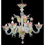 Muranese lustre en verre de Murano 6 lampes Cristal or rose