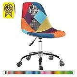 Decopresto 1 x Chaise de Bureau roulettes Hauteur réglable Patchwork Couleur Pieds Chrome DP-DSOA-PC-1P