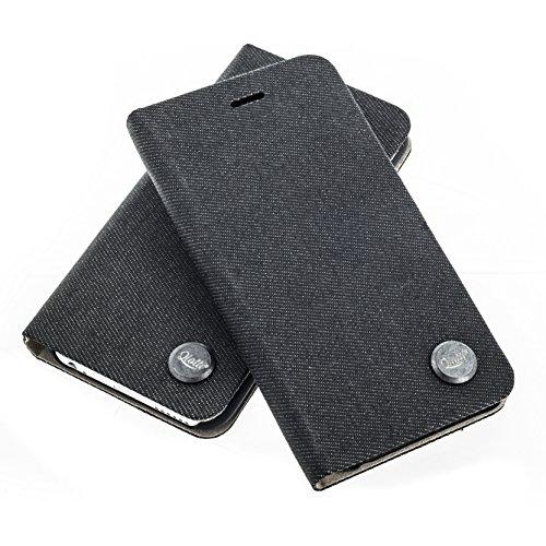 QIOTTI >          Apple iPhone 6 PLUS und iPhone 6S PLUS (5,5&quot;)          < incl. PANZERGLAS H9 HD+ Booklet Wallet Case Hülle Premium Tasche aus echtem Kalbsleder mit KARTENFÄCHER und STANDFUNKTION. CARRIER SLIM KOLLEKT DENIM