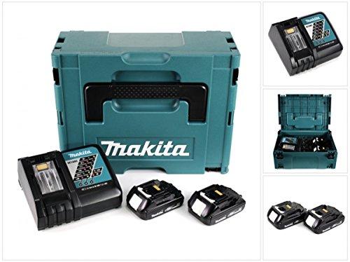 Makita Power Source Kit 18V / 2x 1,5 Ah Akku (BL1815 - 195445-6) im MAKPAC Gr. 3 (P-02381) + Ladegerät (DC18RC - 195584-2) (Akkus Makita Bl1815 18 Volt)