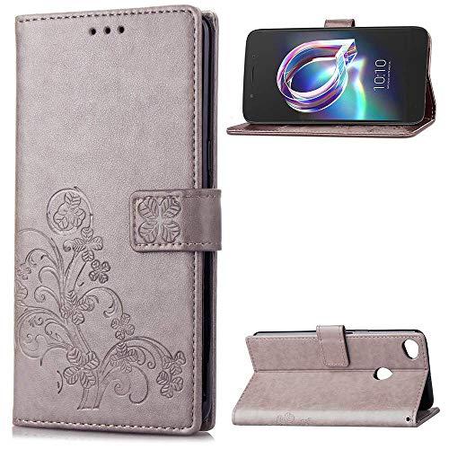 SATURCASE Alcatel One Touch Idol 5 Hülle, Lucky Clover PU Lederhülle Magnetverschluss Flip Brieftasche Handy Tasche Schutzhülle Handyhülle Hülle mit Standfunktion für Alcatel One Touch Idol 5 (Grau)