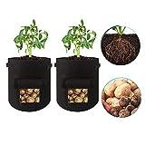 Daity Saco de Patatas para Plantar Transpirable Bolsa de Crecimiento de Tela no Tejida para Patatas, Zanahorias, cebollas y Patatas Dulces