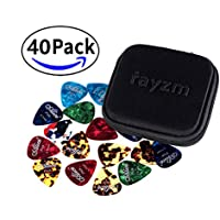 Rayzm Plettri Plectrum per Chitarra (Guitar plectrum Picks) 40 pcs, Premium Assorted Celluloide Picks per chitarra Basso di diversi colori e 6 diversi spessori 0,46/0,71/0,81/0,96/1,20/1,50mm