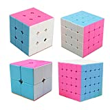 MZStech Cube Magique Set 4 Pack 2x2x2 3x3x3 4x4x4 5x5x5 Autocollant Speed Cube Rose