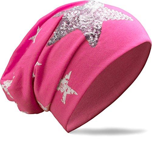 NavyBlu klassische slouch lang Beanie Mütze mit vintage Pailletten Stern Applikation pink M62-10