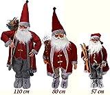 Weihnachtsmann Figur Rot/Grau - Nikolaus XXL Dekofigur Weihnachten 80 cm