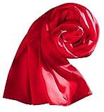 Sumolux Sciarpa in Raso Colore Puro Stole Scialle Serico Quadrato Nuovo Stile per Donna Rosso
