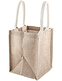 """PACK OF 2- MEDIUM JUTE BURLAP TOTE BAG 9.5""""H X 8""""W X 7.75"""" Gusset (Reusable, Eco-Friendly, And Laminated) PyroVentures..."""
