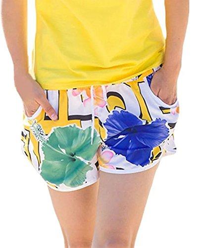 Fancyland Pantalon de Plage Imprimé Fleurs Short Piscine Désinvolt et Sportif Maillot De Bain Grande Taille Eté Pour Femme Lis