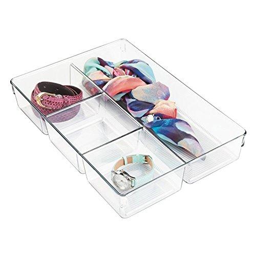 InterDesign Linus Schubladenbox für Schrank oder Schminktisch, 33,0 cm x 22,9 cm x 5,7 cm Aufbewahrungsbox mit 4 Fächern aus Kunststoff, durchsichtig - 3