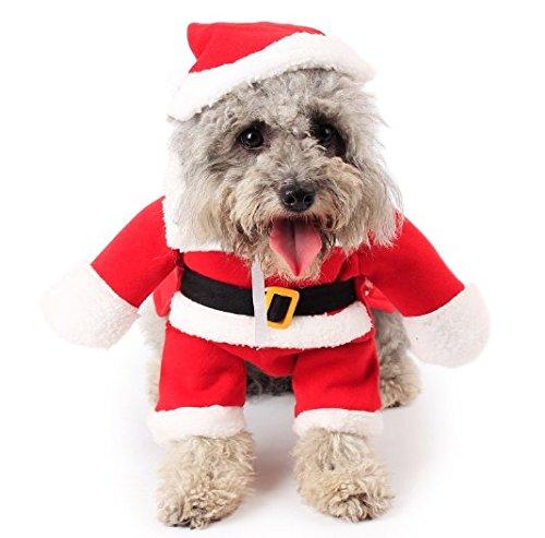URGrace Neue Weihnachtsmann Hund Kostüm Weihnachten Pet Dress Up Produkte mit Hut Welpen Hund Katze liefert Outwear Kleidung rot schwarz Gürtel Mäntel Bekleidung Baumwolle Kleidung für Katze Hund