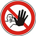 Verbotszeichen - Zutritt für Unbefugte verboten - Ø 100 mm - 2 Verbotsschilder aus Polypropylen Folie, weiß (Aufdruckfarbe: schwarz/rot), permanent haftend