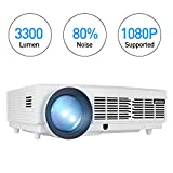 Vidéoprojecteur, Retroprojecteur Full HD 3300 Lumens 1080P Video Projecteur LED WiMiUS T6 Projecteur LCD Home Cinema Compatible avec 1920*1080 Dual HDMI Dual USB VGA SD pour PC PS4 Xbox iPhone Smartphone Blanc