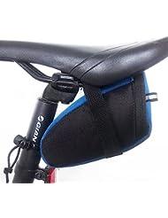 W-top bolsa bicicleta de aire libre MTB bicicleta Saddle Tail cola trasera bolsa de almacenamiento de asiento (Azul)