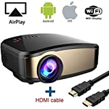 Wireless Display Projector, HuiHeng LCD Mini WiFi Projector Video Projector with HDMI VGA USB AV Port For Home Theatre Entertaiment