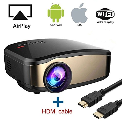 WiFi Video Beamer, HuiHeng Wireless Projektor Mini LCD Beamer Full HD Multimedia Projektor für Party Home Entertainment Video Spiele Unterstützung AirPlay Miracast Wireless - Sie Einfach Die Ps4 Bewegen