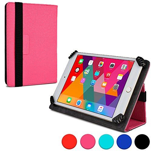 Infinite 'Cooper Cases TM-Custodia a libro universale per tablet, colore: rosa, in pelle, con funzione di supporto e fascia elastica, chiusura)