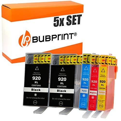 Plus Druckkopf (Bubprint 5 Druckerpatronen kompatibel für HP 920XL 920 XL für OfficeJet 6000 6500 6500A Plus 6500 Wireless 7000 7500A Schwarz Cyan Magenta Gelb)