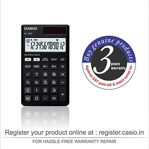 Casio NJ-120D-BK 150 Steps Check & Correct Portable Colourful Calculator (Black)