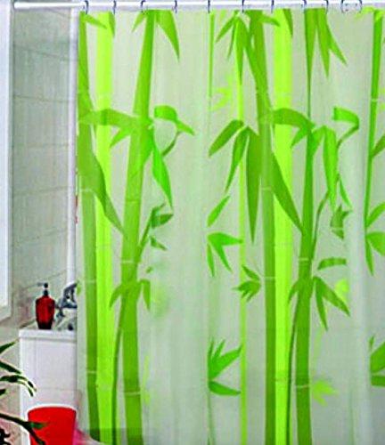180 x 180cm Bambus EVA wasserdichte Stoff Bad Duschvorhang mit 12pcs Vorhang Haken Ringe