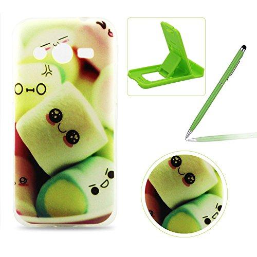 Per Samsung Galaxy Core 4G LTE SM-G386F TPU Custodia Morbido,Per Samsung Galaxy Core 4G LTE SM-G386F morbido protettiva TPU Caso Copertina Trasparente Ultra Sottile Silicone Gel,Herzzer Moda Colorata [cartone animato Modello] Flessibile Skin Protettore Copertura Shell del Paraurti Cover posteriore Per Samsung Galaxy Core 4G LTE SM-G386F + 1 x verde telefono cellulare Cavalletto + 1 x Pennino verde
