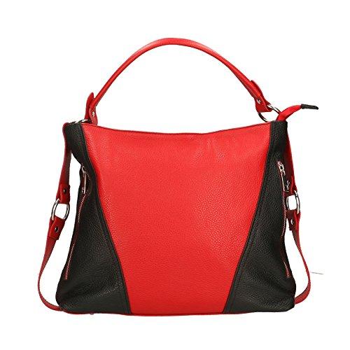 Chicca Borse Frau Clutch Kleine Schultertasche mit Schulterriemen, Dollar-Mustern, echtem Leder Made in Italy - 26x16x6 cm Rot Schwarz