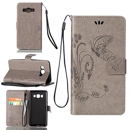 Hülle für iPhone 7 (4.7 zoll), Owbb Schmetterling Blumen Muster Handyhülle PU Ledertasche Flip Cover Wallet Case mit Stand Function Innenschlitzen Design Weiß(Ein freier Stylus als Geschenk) Grau