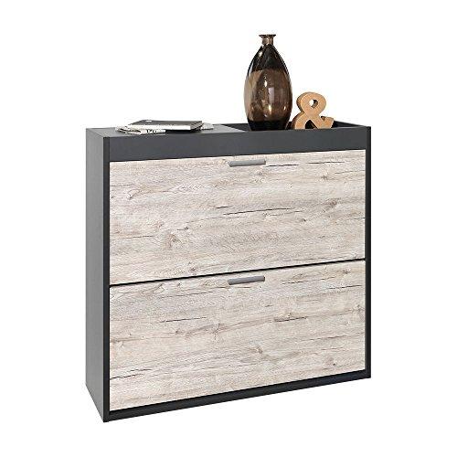 Unbekannt FMD Möbel 484-001 Schuhschrank Holz, anthrazit/sandeiche, 92,5 x 27,5 x 88 cm