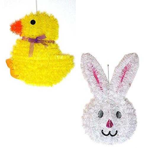2x Lametta Wandschild Dekorationen Chick & Bunny Ostern (Zubehör Kit Bunny)