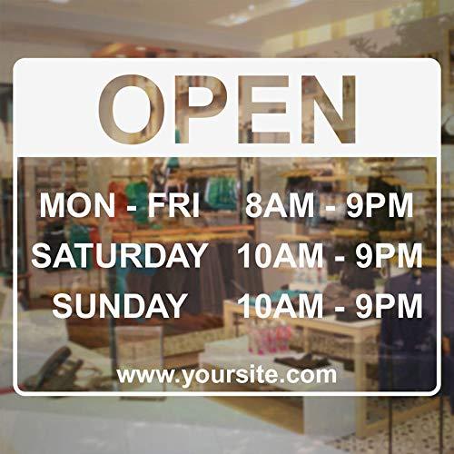 alicefen Öffnungszeiten Open Decal Store Business Sign - Vinyl Aufkleber Custom Website Adresse Fenster Tür Vinyl Aufkleber wasserdicht 4 2 * 33cm -