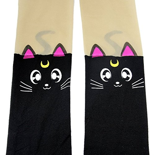 Sunkee Anime Sailor Moon Luna Katze Nette Enge Printing Socken Cosplay Kostüm Strumpfhosen (Sailor Moon Schwarz Socke) (Luna Katze Kostüm Sailor Moon)
