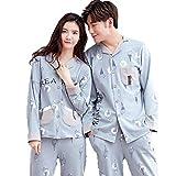 Hombres Hombres Y Mujeres Tipo del Esencial Mismo Patrón De Helado Pijamas para Parejas Servicio De Algodón En El Hogar Solapa Manga Larga Cardigan 2018 Primavera Otoño Y Otoño Nuevos Pijamas