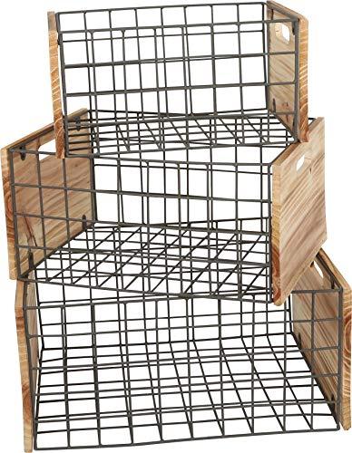 small foot Holztruhe Gitter, 3er Set im Industrial-Stil, zur Deko und Aufbewahrung, Verschiedene Größen, universell einsetzbar