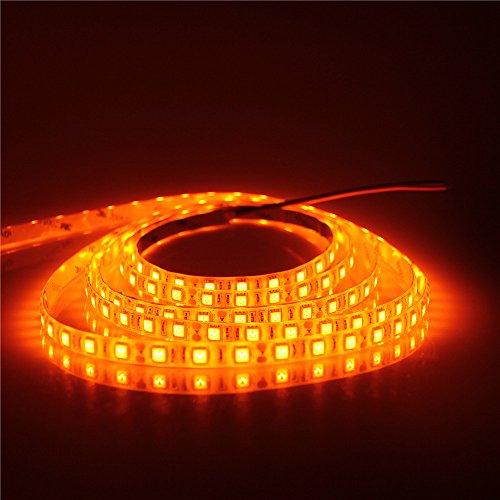 ALITOVE 16.4ft 5050 SMD Orange LED Flexible Strip Light lamp 5M 300 LEDs Waterproof IP65 12V DC for home hotels clubs shopping malls cars decoration