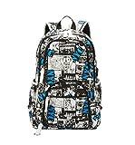 Maod Uomo Zaino Università Grandi Laptop Backpack per 15.6 pollice Graffiti Borsa Scuola Ragazzi Impermeabile Zaini Casual (Blanco)