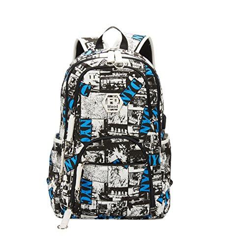 Maod Schulrucksack Jungen laptop rucksack Wasserdicht Schultaschen Jugendliche daypack herren backpack Schule (Weiß)