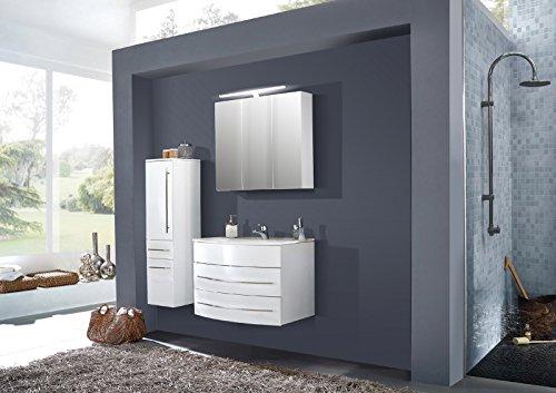 SAM® 3tlg. Design Badmöbel-Set Dali 100 cm weiß, Softclose-Funktion, 1 Waschplatz mit Keramikbecken, 1 Spiegelschrank und 1 Hochschrank