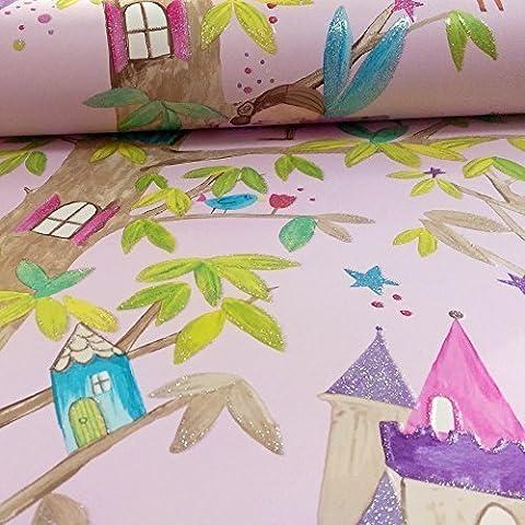Arthouse Woodland Fairies Tree Fairy Bear Glitter Childrens Wallpaper (Pink 667000)