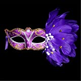 GXY - Masque peint en plume Mascarade Fête Costumée Fête d'anniversaire Noël Halloween (violet2)